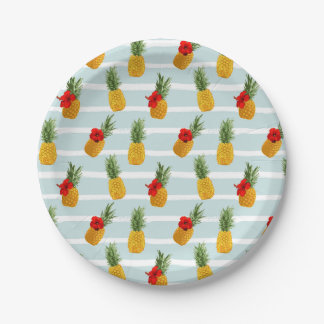 Hawaiian Summer Pineapple Seamless Pattern Paper Plate