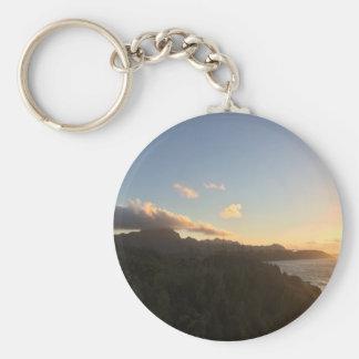 Hawaiian Sunrise Basic Round Button Keychain