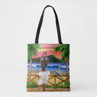 Hawaiian Sunset Hula Dancer Tote Bag