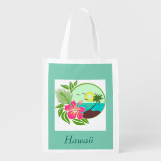 Hawaiian Sunset Palm Tree Reuseable Grocery Bag