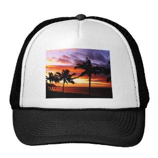 Hawaiian Sunset print Trucker Hats