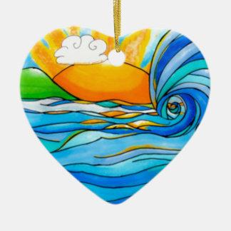 Hawaiian Surf Art - The Big Wave Ceramic Ornament