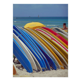 Hawaiian Surfboards Poster