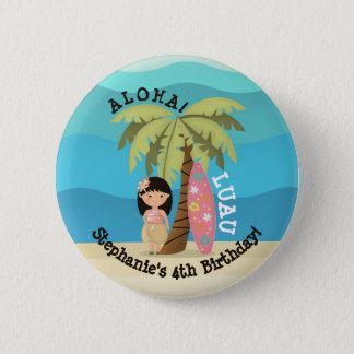 Hawaiian Surfer Girl 2 Inch Round Button