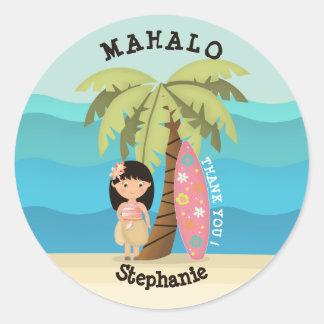 Hawaiian Surfer Girl Classic Round Sticker
