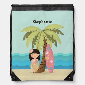Hawaiian Surfer Girl Drawstring Bag