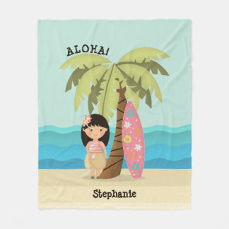 Hawaiian Surfer Girl Fleece Blanket
