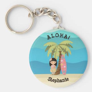 Hawaiian Surfer Girl Keychain