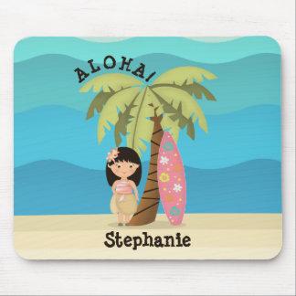 Hawaiian Surfer Girl Mouse Pad