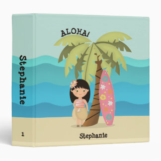 Hawaiian Surfer Girl Vinyl Binder
