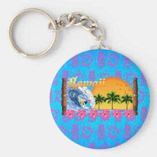 Hawaiian Surfing Basic Round Button Keychain