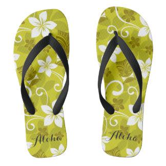 Hawaiian Tiki and Floral Flips Flip Flops