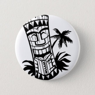 HAWAIIAN TIKI BAR ART 2 INCH ROUND BUTTON