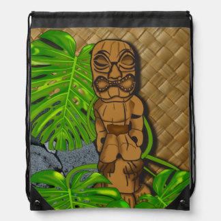 Hawaiian Tiki Lauhala Drawstring Backpack