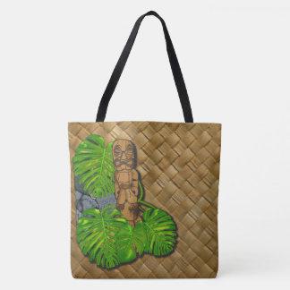 Hawaiian Tiki Lauhala Print Tote Bag