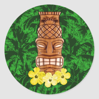 Hawaiian Tiki Mask Classic Round Sticker