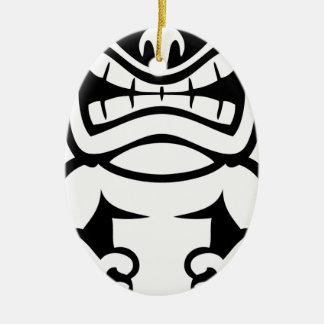 Hawaiian Tiki Mask God Ceramic Oval Ornament