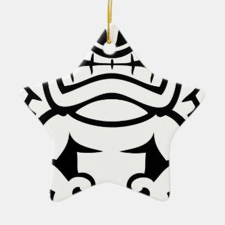 Hawaiian Tiki Mask God Ceramic Star Ornament