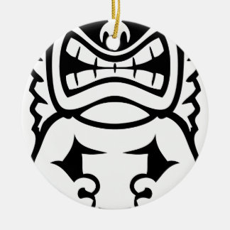 Hawaiian Tiki Mask God Round Ceramic Ornament