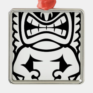 Hawaiian Tiki Mask God Silver-Colored Square Ornament