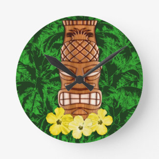 Hawaiian Tiki Mask Round Clock