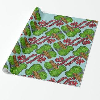 Hawaiian Tiki Mele Kalikimaka Wrapping Paper