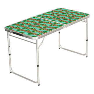 Hawaiian Tiki Repeat Pattern Beer Pong Table