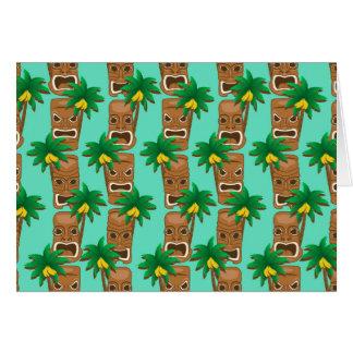 Hawaiian Tiki Repeat Pattern Card