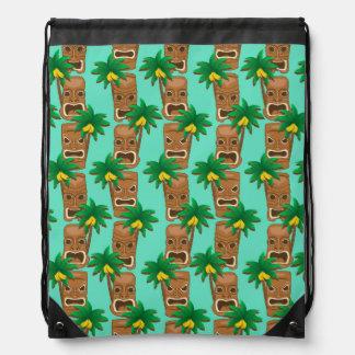 Hawaiian Tiki Repeat Pattern Drawstring Bag