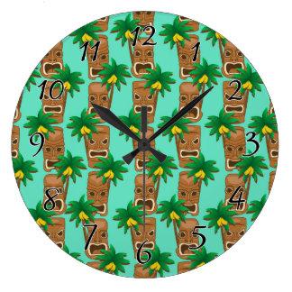 Hawaiian Tiki Repeat Pattern Large Clock