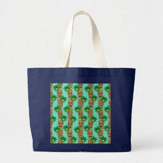 Hawaiian Tiki Repeat Pattern Large Tote Bag