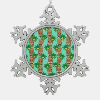 Hawaiian Tiki Repeat Pattern Pewter Snowflake Ornament