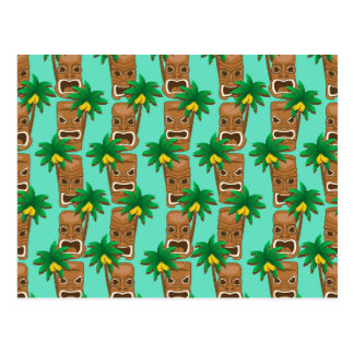 Hawaiian Tiki Repeat Pattern Postcard