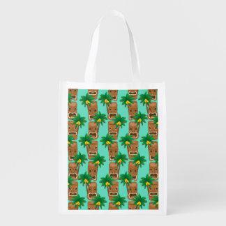 Hawaiian Tiki Repeat Pattern Reusable Grocery Bag