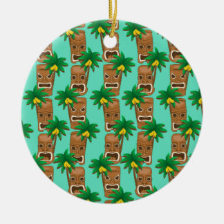 Hawaiian Tiki Repeat Pattern Round Ceramic Ornament