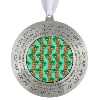 Hawaiian Tiki Repeat Pattern Round Pewter Ornament