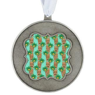 Hawaiian Tiki Repeat Pattern Scalloped Pewter Ornament