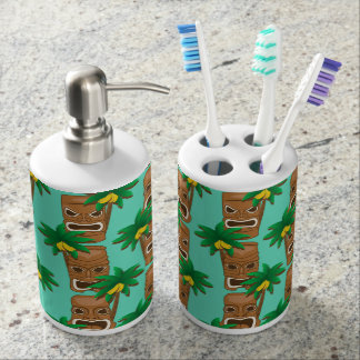 Hawaiian Tiki Repeat Pattern Soap Dispenser And Toothbrush Holder