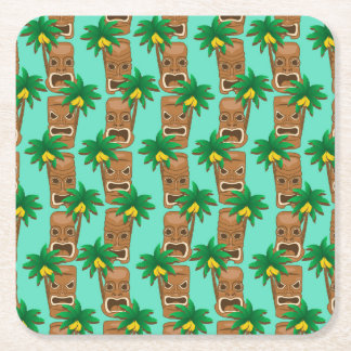 Hawaiian Tiki Repeat Pattern Square Paper Coaster