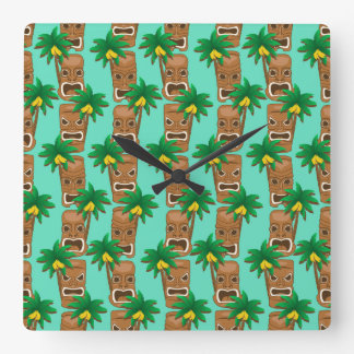 Hawaiian Tiki Repeat Pattern Square Wall Clock