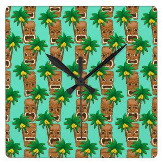 Hawaiian Tiki Repeat Pattern Wallclock
