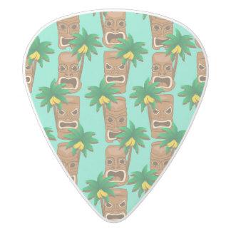 Hawaiian Tiki Repeat Pattern White Delrin Guitar Pick
