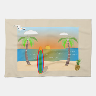 HAWAIIAN TROPICAL ISLAND, PALM TREES AND PINEAPPLE KITCHEN TOWEL