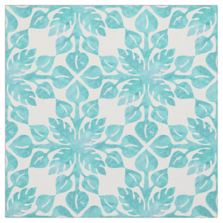 Hawaiian Tropical Leaves Aqua Watercolor Pattern Fabric