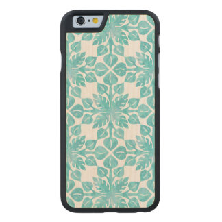 Hawaiian Tropical Leaves Watercolor Pattern Carved Maple iPhone 6 Case