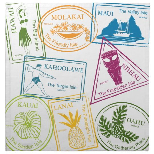 Hawaiian Tropical Passport Stamps Napkins