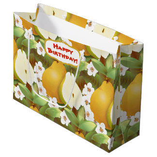 Hawaiian Tropical Pears Fruit Floral Botanical Large Gift Bag