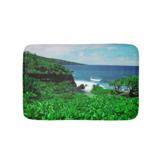 Hawaiian Tropical Shoreline With Tropical Plants Bath Mat