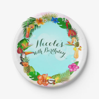 Hawaiian Tropical Summer Things Frame Luau Party Paper Plate