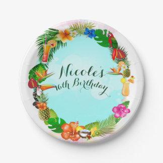 Hawaiian Tropical Summer Things Frame Luau Party Paper Plate